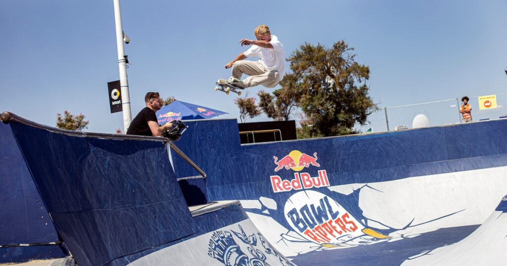 Skater performing at the Red Bull Bowl Rippers contest at Marseille Skatepark.